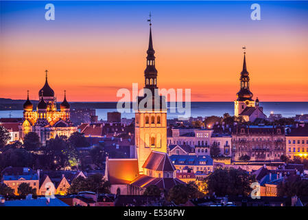 Tallinn, Estonia at sunset. - Stock Photo