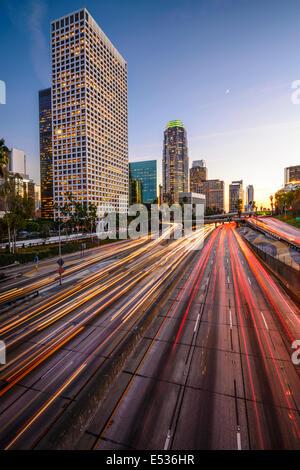 Los Angeles, California, USA downtown skyline at twilight. - Stock Photo