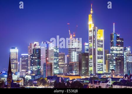 Frankfurt, Germany Cityscape at night. - Stock Photo