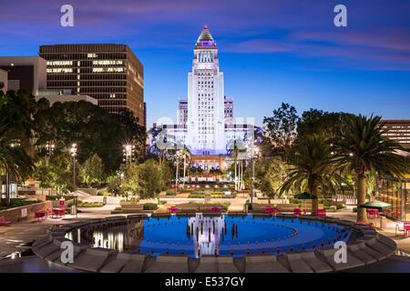 Los Angeles, California, USA downtown at city hall. - Stock Photo