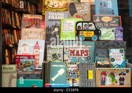 Second-hand childrens books display in a bookstore in Hampstead High Street, London NW3 - Stock Photo