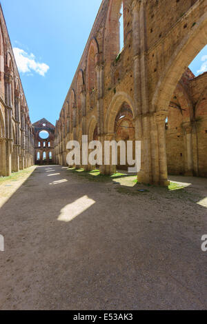The monumental complex of Saint Galgano rises approximately 30 km to the West of Siena, to the border with the province - Stock Photo