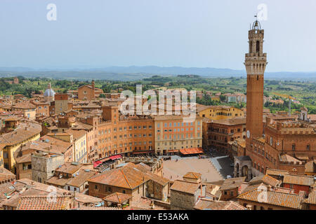 From the top of Il Museo dell'Opera del Duomo. The finest observation point of Siena. A breathtaking panorama with - Stock Photo