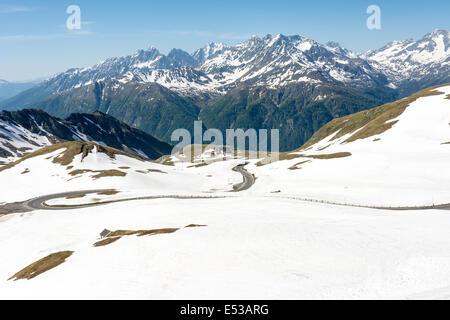 Panoramic view of the Hohe Tauern mountain range in Austria - Stock Photo