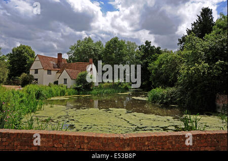 A view from Flatford Mill towards Willy Lott's cottage which appears in Constable's painting masterpiece 'The Hay - Stock Photo