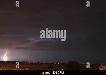 Eastney Bech, Portsmouth, UK. 18th July, 2014. Electric Storm hits the South Coast, early hours of Saturday morning. - Stock Photo