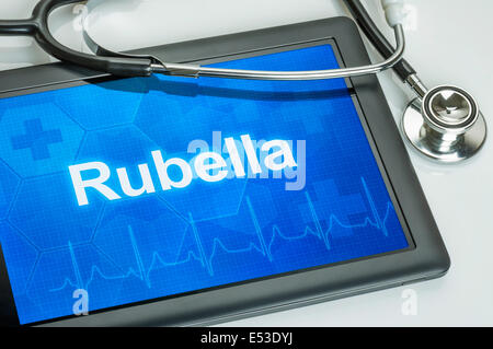 Tablet with the diagnosis Rubella on the display - Stock Photo