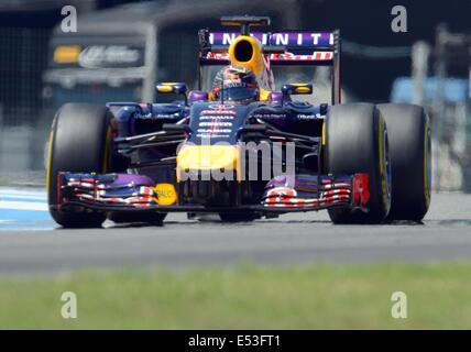 Hockenheim, Germany. 18th July, 2014. German Formula One driver Sebastian Vettel from team Red Bull during the second - Stock Photo