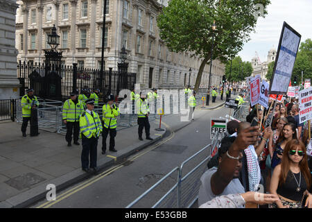 Whitehall, London, UK. 19th July 2014. Downing Street is cordoned off by barriers and extra Police for the protest - Stock Photo