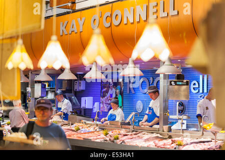 Kay O' Connell's fishmonger stall at the English market in Cork city, County Cork, Ireland. - Stock Photo