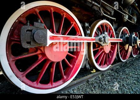 Old steam engine locomotive propulsion mechanism wheels machinery power strength strong powerful steel - Stock Photo
