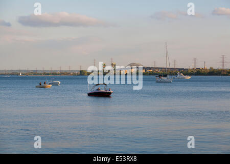 Boats with the Burlington Skyway in the Background on Lake Ontario at the 'Sound of Music Festival' in Burlington, - Stock Photo