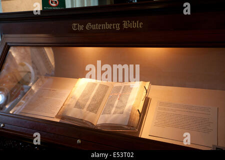 WASHINGTON D.C. - MAY 23 2014: The Gutenberg Bible display at the  Library of Congress in Washington D.C.The Gutenberg - Stock Photo