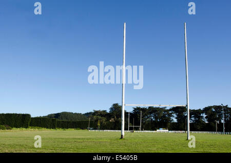 Goal posts for football, rugby union or league on field. Concept photo of sport, achievement mission and goals. - Stock Photo