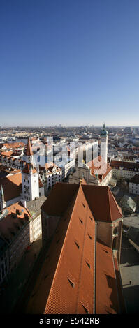 View from the tower of St Peterskirche or St Peter's Church, Marienplatz, Munich, Germany. - Stock Photo