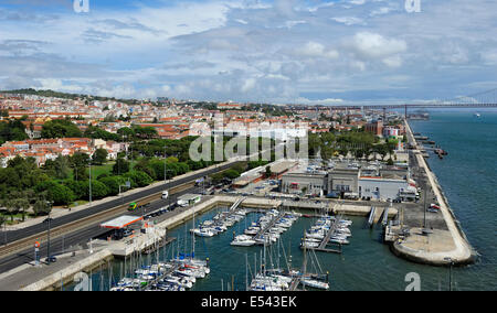 view of waterfront from the top of the Monument to the Discoveries, Lisbon, Portugal - Stock Photo