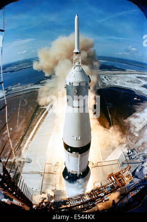 The 363-feet tall Saturn V rocket launches on the Apollo 11 mission from Pad A, Launch Complex 39, Kennedy Space Center, at 9:32 a.m. EDT July 16, 1969 in Cape Canaveral, Florida. Onboard the Apollo 11 spacecraft are astronauts Neil A. Armstrong, commander; Michael Collins, command module pilot; and Edwin E. Aldrin Jr., lunar module pilot. Apollo 11 was the United States' first lunar landing mission.