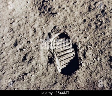 Photograph of the bootprint of astronaut Buzz Aldrin on the lunar surface during the Apollo 11 mission to the Moon - Stock Photo