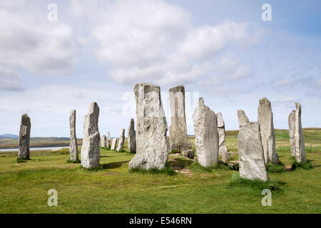 Callanish Stone Circle Neolithic standing stones from 4500 BC Calanais Isle of Lewis Outer Hebrides Western Isles - Stock Photo