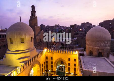 Ibn Tulun mosque minaret at dusk. Cairo, Egypt - Stock Photo