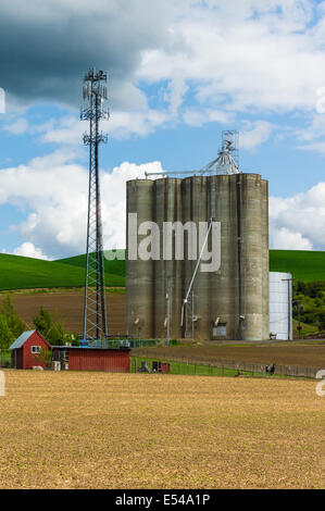 A large grain silo storage building with a cell phone tower - Stock Photo