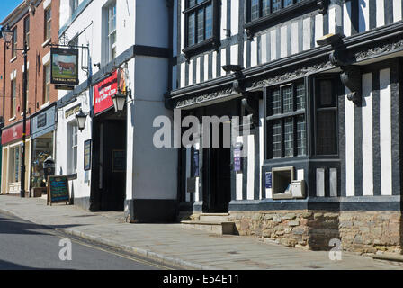Half-timbered NatWest Bank and the Bull Hotel, Ludlow, Shropshire, England UK - Stock Photo