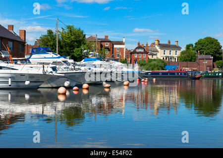 Boats moored in Stourport canal basin, Worcestershire, England, UK - Stock Photo
