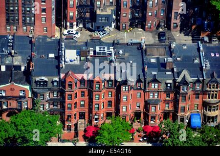 BOSTON, MASSACHUSETTS:  Elegant 19th century brick town houses on Newbury Street  * - Stock Photo