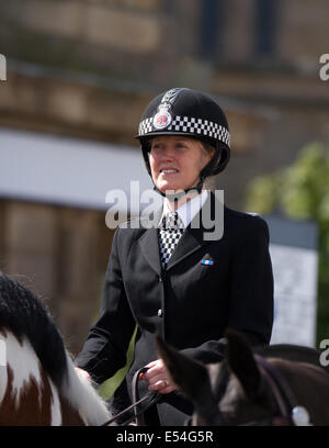 Fleetwood, Lancashire, 20th July, 2014. Mounted Policewoman at the Fleetwood Festival of Transport, UK - Stock Photo