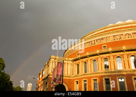 A rainbow over the Royal Albert Hall in London, UK. - Stock Photo