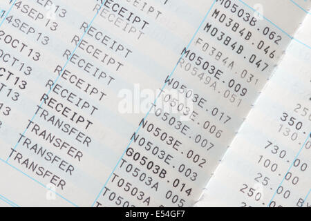 Inside Pages Showing Receipts Of Money In A Building Society Savings Book - Stock Photo