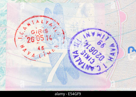 Entry And Exit Stamps For Turkey In A British Passport - Stock Photo