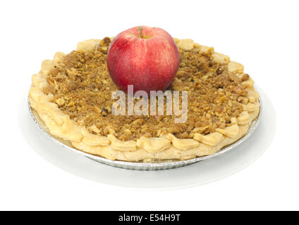 Fresh baked homemade apple pie on white plate with red apple isolated - Stock Photo