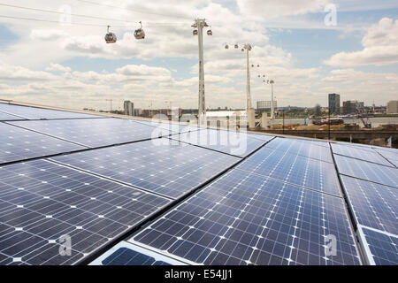 Solar PV panels on the roof of the Crystal building which is the first building in the world to be awarded an outstanding - Stock Photo