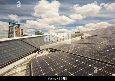 Solar thermal and solar PV panels on the roof of the Crystal building which is the first building in the world to - Stock Photo