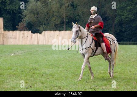 Roman Cavalry solider on a Palomino horse - Stock Photo