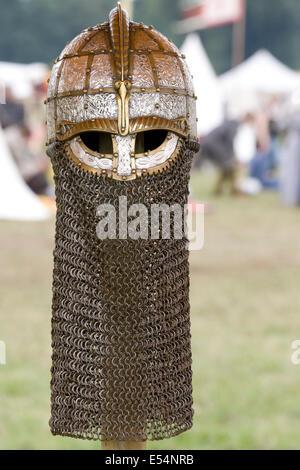 An Anglo Saxon Replica Helmet at a reenactment Festival - Stock Photo