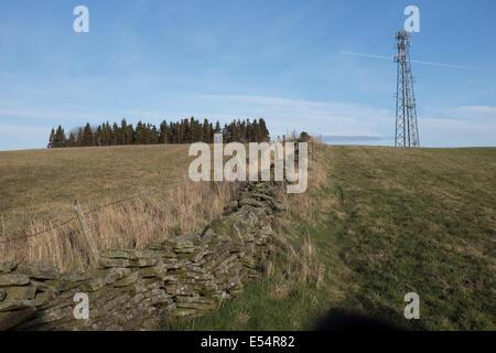 communications mast in Derbyshire, England, UK - Stock Photo