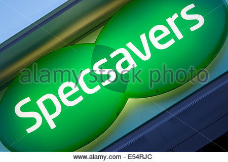 Specavers neon shop sign, Poole, Dorset, England UK - Stock Photo