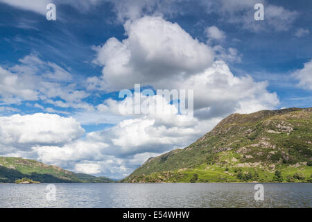 White clouds over Ullswater, the second biggest lake in the Lake District, UK - Stock Photo