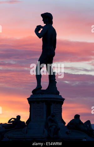 Copy of Michelangelo's David in Piazza Michelangelo at dawn, Florence, Tuscany, Italy, Europe - Stock Photo