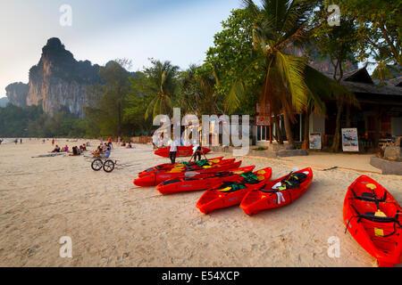 canoes in Railay West Beach. Railay. Krabi province, Andaman Sea, Thailand, Asia. - Stock Photo