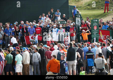 Hoylake, UK. 20th July, 2014. Rickie Fowler (USA) Golf : Rickie Fowler of United States watches his tee shot on - Stock Photo