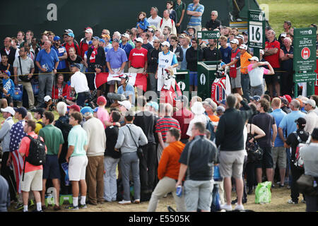 Hoylake, UK. 20th July, 2014. Rory McIlroy (NIR) Golf : Rory McIlroy of Northern Ireland watches his tee shot on - Stock Photo
