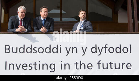 Llanelwedd, Builth Wells, Powys, Wales, UK . 21st July, 2014. Royal Welsh Show, Llanelwedd. L-r, First Minister (Welsh Assembly) Carwyn Jones with Prime Minister David Cameron and Welsh Secretary Stephen Crabb. Credit:  James Davies/Alamy Live News