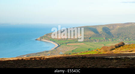 Porlock Bay with Hurlstone Point & Bossington Hill viewed from Porlock Hill - Stock Photo