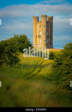 Early morning at Broadway Tower, the Cotswolds, Worcestershire, England - Stock Photo