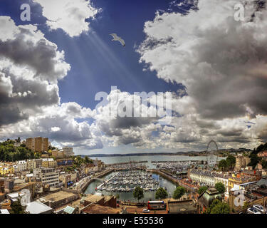 GB - DEVON: Torbay with Torquay Harbour & Town in foreground - Stock Photo