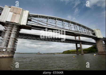 Scaffolding covers the support pillars of The Royal Albert Railway Bridge designed by Isambard Kingdom Brunel. - Stock Photo