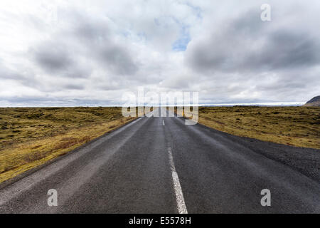 Wide angle shot of the empty Route 1 (Ring Road) leading through scenic landscape and stretching to the horizon, - Stock Photo